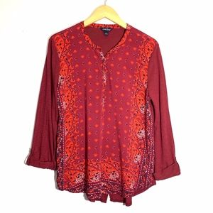 Lucky Brand Top Red Paisley Size Large